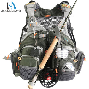 Maximumcatch Mesh Fly Fishing Vest Fishing Back Multifunction Pockets Fishing Backpack Vest