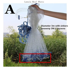 Lawaia American Hand Cast Net Diameter 2.4m-7.2m Fishing Net 4.2m Fishing Network 3m Fishing Nets Or No Pendant Netting fish