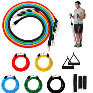 11Pc/Set Adjust Fitness Resistance Bands Elastic Rubber Tube Crossfit Home Workout Muscle Training Bodybuilding Gym Equipment
