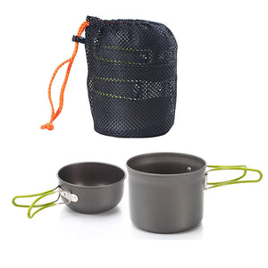 NEW Non-stick Pots Pans Bowls Portable Outdoor Camping Hiking Cooking Set Cookware Good Quality
