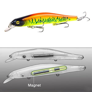 1pcs Fishing Lure Minnow 12.5cm/17.7g Topwater Artificial Bait 3D Eyes Plastic Wobblers Tackle Pesca Far-casting Magnet System
