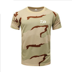 Men DAIWA Fishing T Shirt Summer Man Short Sleeve Camouflage Fishing Clothing Outdoor Sport Breathable Quick Dry Fishing Clothes