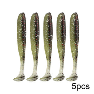 biwvo 5pcs/lot 7cm soft lures Easy Shiner Soft Wobblers Fishing Lure Silicone Double Swimbaits isca Artificial Carp Fishing