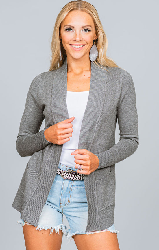Ribbed Trim Open Cardigan