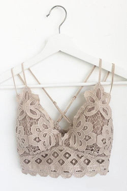 (pre-order) Taupe Floral Crochet Strappy Bralette
