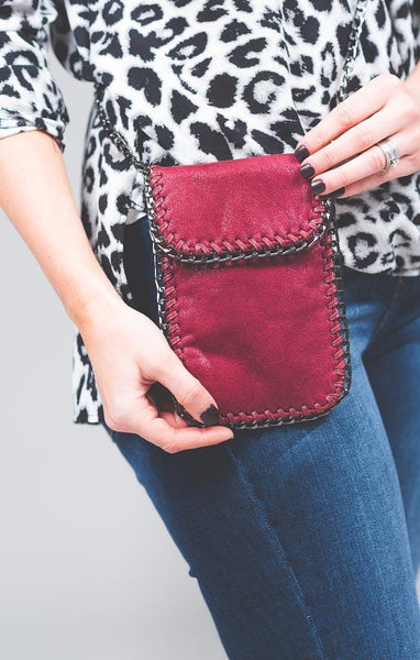 Burgundy Lark Chain Cross Body Bag