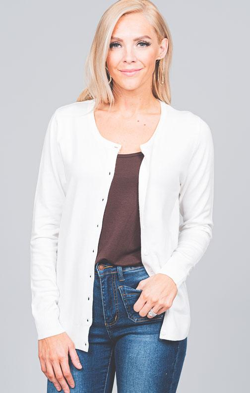 Round Neck Button Down Cardigan