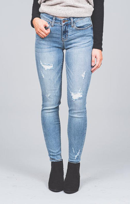 Ciara Dark Wash Distressed Cropped Jeans