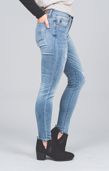 Janice Patched Distressed Skinny Jeans