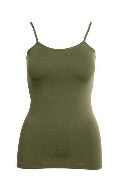 Tank Top One Size Fits All Olive Basic Nylon Tank