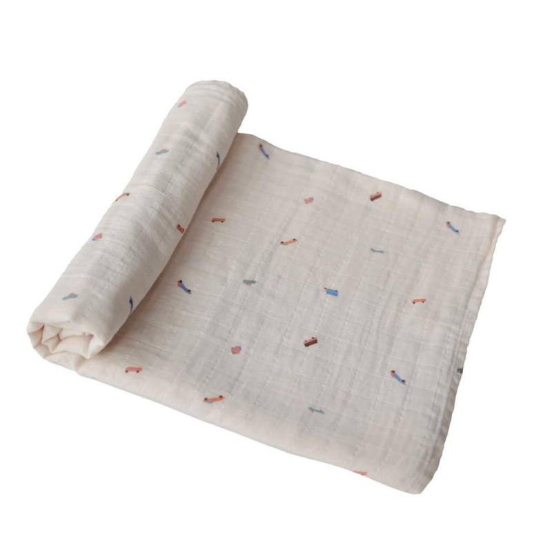 Retro Cars Organic Cotton Muslin Swaddle Blanket
