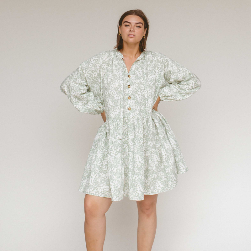 Mint Daisies Avalon Smock Dress