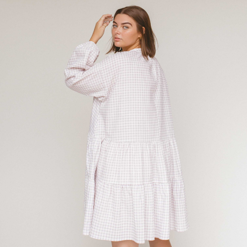 Lilac Gingham Avalon Smock Dress