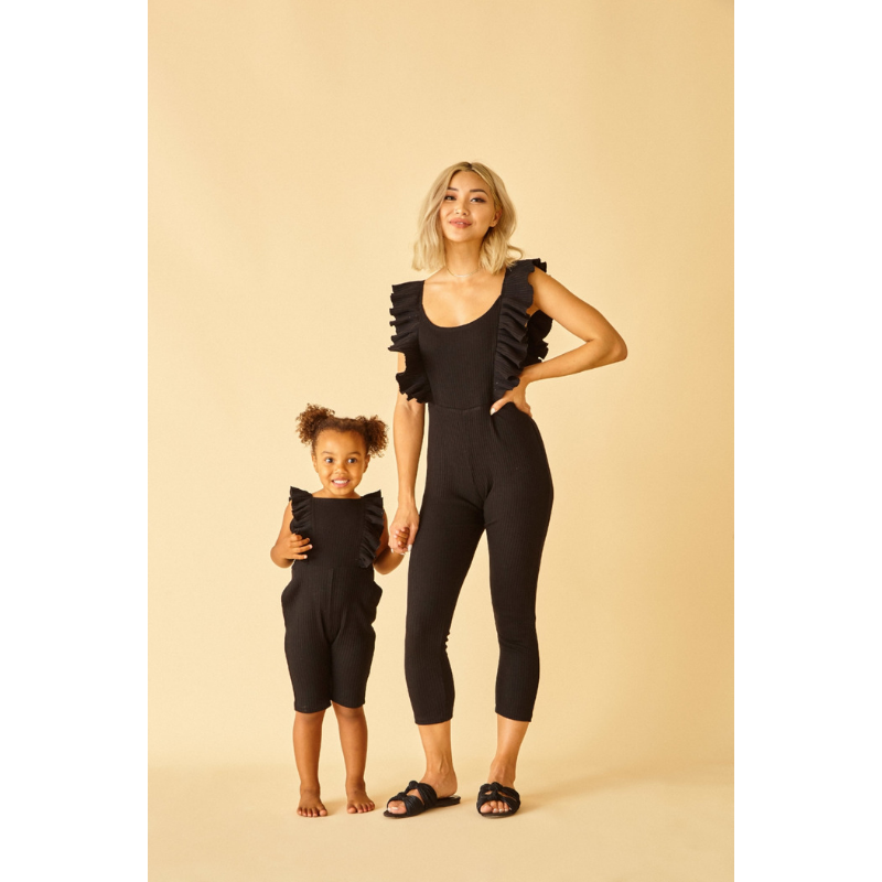 Dahlia Ribbed Jumpsuit-Jumpsuit-Sun Peony Coconut-Babe Bump & Beyond. Shop on trend gender neutral clothing, with modern eco concious sustainable ethics. Featuring carefully curated brands for maternity, breastfeeding, baby, kids and mothers with fast shipping to New Zealand, australia and international. Pay by Afterpay or laybuy. free shipping.