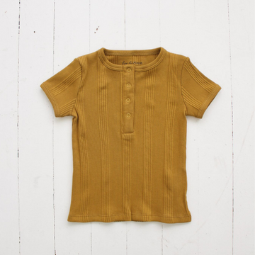 Mustard Snap Tee-Tee-Fin & Vince-12/24m-Babe Bump & Beyond. Shop on trend gender neutral clothing, with modern eco concious sustainable ethics. Featuring carefully curated brands for maternity, breastfeeding, baby, kids and mothers with fast shipping to New Zealand, australia and international. Pay by Afterpay or laybuy. free shipping.