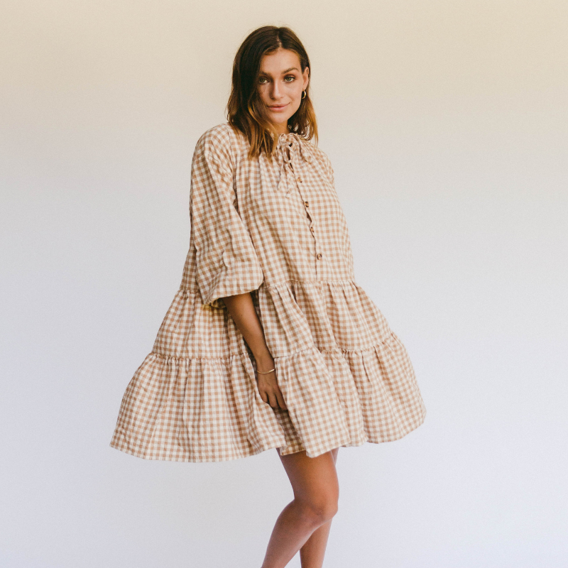 Caramel Gingham Avalon Smock Dress