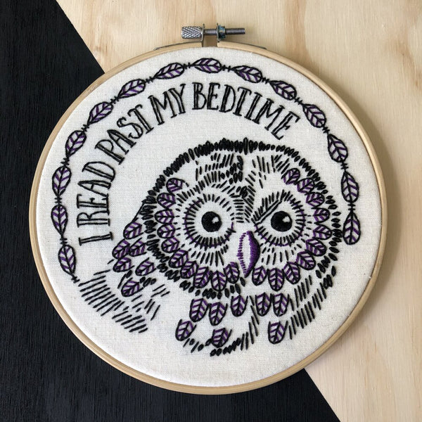 I Read Past My Bedtime Embroidery Kit