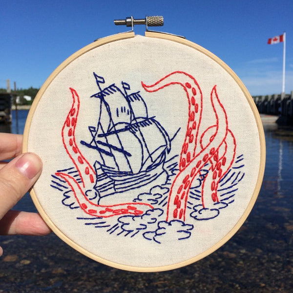 Release the Kraken! Embroidery Kit