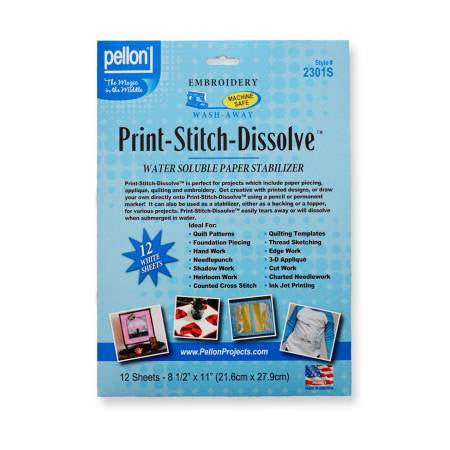 Print-Stitch-Dissolve White 8.5in x 11in - 12 Sheets