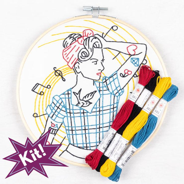 Rockabilly Girl Embroidery Kit
