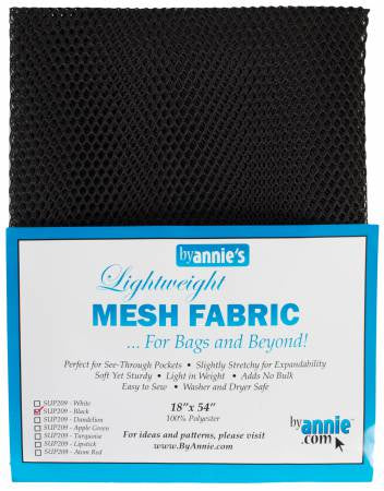 "Lite Weight Mesh Black  18"" x 54"""