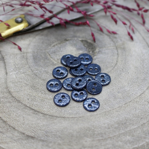 12mm Glitter Button in Midnight 10-pack