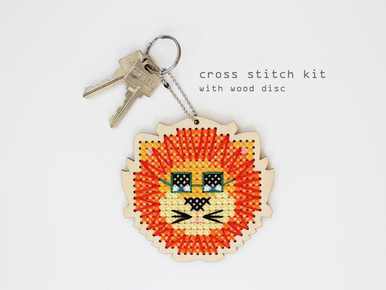 Leo Lion Wood Cross Stitch Kit