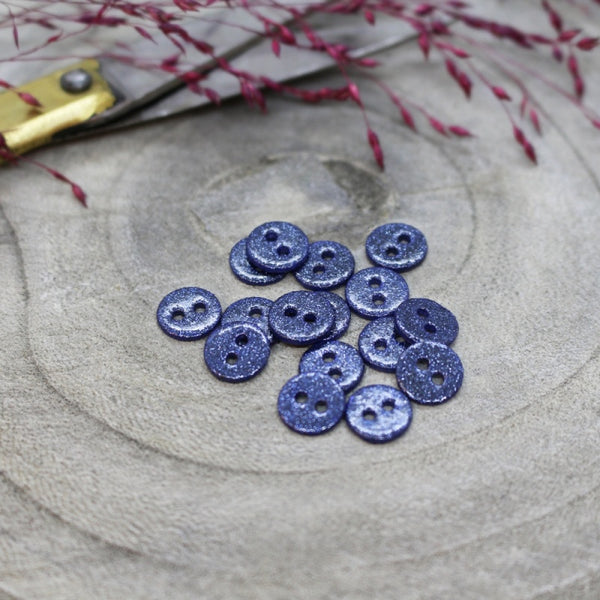 12mm Glitter Button in Cobalt 10-pack