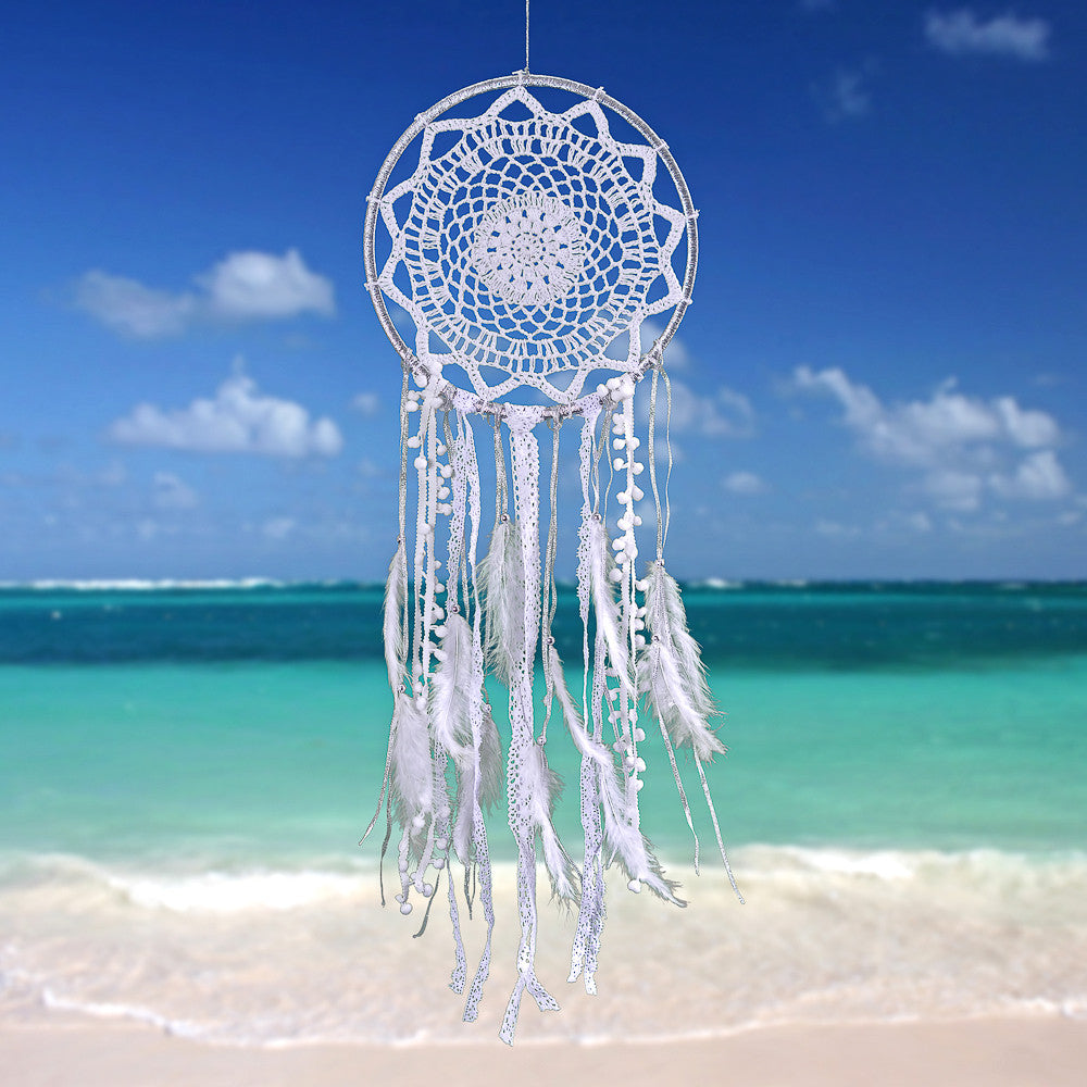 "Dream Catcher ~ Silver and White Boho, Hippie, Bohemian Style 10.5"" Diameter & 30"" Long!"