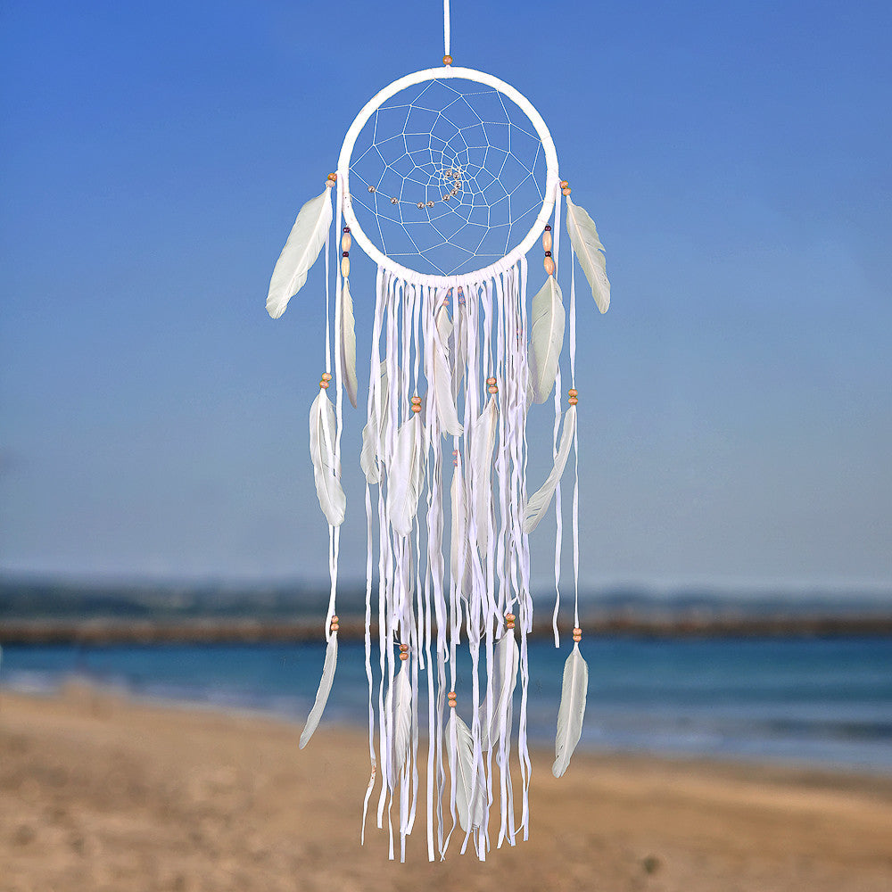 "Dream Catcher ~ Boho Style 8.5"" Diameter & 31"" Long! (White)"