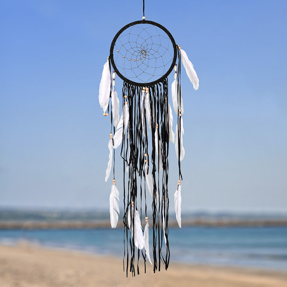 "Dream Catcher ~ Boho Style 8.5"" Diameter & 31"" Long! (Black)"