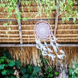 Boho Dream Catcher ~ White Crochet Bohemian Gypsy Hippie Style 10 inch x 23 inches long!