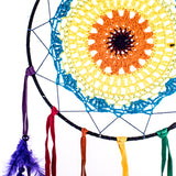Dream Catcher ~ Rainbow Crochet, Boho, Gypsy, Hippie Style 10 inch Diameter & 23 inches Long!
