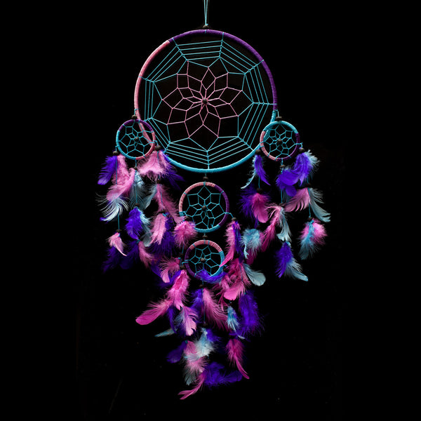 "Caught Dreams Dream Catcher ~ Handmade Traditional Aqua Blue, Pink & Purple 8.5"" Diameter & 24"" Long!"