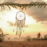 "Caught Dreams Dream Catcher ~ HANDMADE White Suedette Pearl BOHO, Hippie, Wedding Style 12.5"" x 36"" Long! …"
