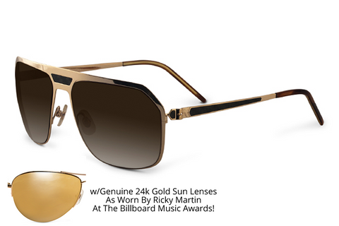 Malibu - w/ Genuine 24k Gold Lenses As Worn By Ricky Martin At The Billboard Music Awards! - SamaEyewearShop.com - 1