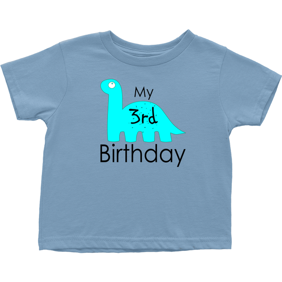My 3rd Birthday Blue Dinosaur Three-Year-Old T-Shirts (Toddler Sizes)