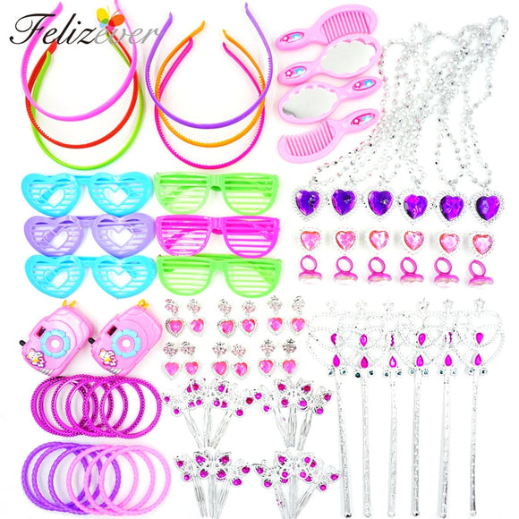 72PCS Princess Pretend Play Set Kids Themed Party Dress-up Costume Jewelry for Girl's Birthday Party Favors Party Supplies