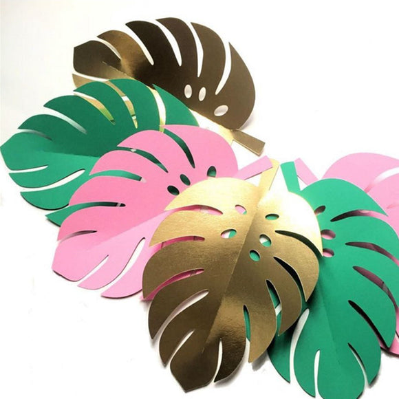 5pcs Sequin Tropical Plants Monstera Leaves Green Papercard Cake Topper DIY Hawaii Party Decor  Baby Shower Wedding Decorations