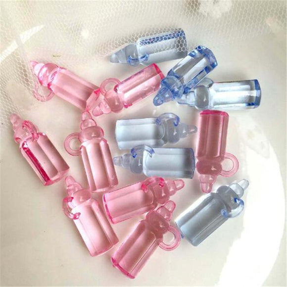 30pcs Pink Blue Mini Plastic Feeding bottle Baby Shower Favor Filler Nursery Christening Party Favor Decor Cake Decorations