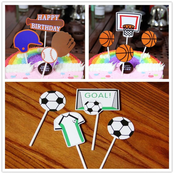 4pcs/set Football Baseball Birthday Cupcake Topper Cute Basketball Paper Cake Topper For Birthday Sports Party Cake Decorating