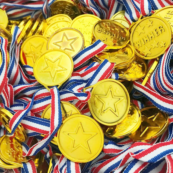 50pcs/set Children Gold Plastic Winners Medals Sports Day Party Bag Prize Awards Toys For Kids Party Fun Supplies