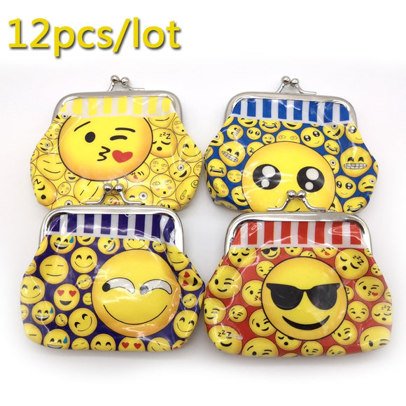 12pcs Birthday Party Decorate Funny Coin Purse Bag Emoji Cartoon Theme Kids Favors Gifts PVC Money Bag Baby Shower Decorations