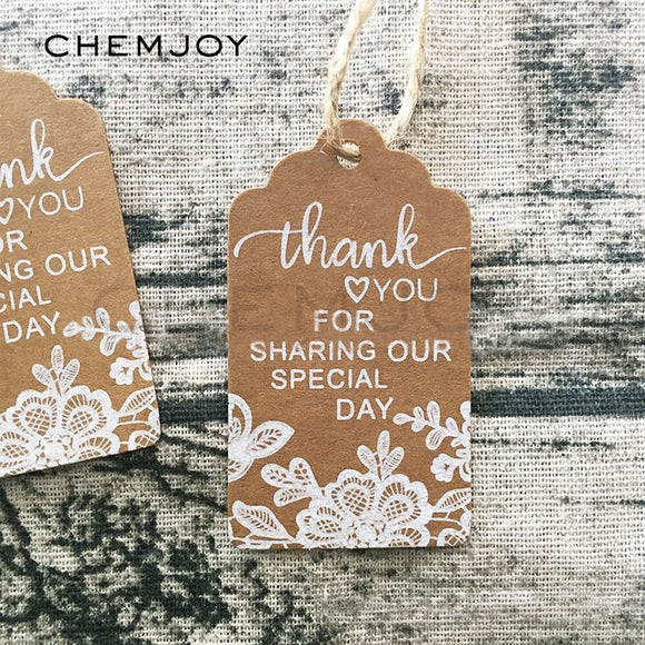 50 Pcs Thank You Gift Tags Lace Print Kraft Paper Tags Wedding Favor Gift Labels Rustic Wedding Party Decorations Gift Wrapping