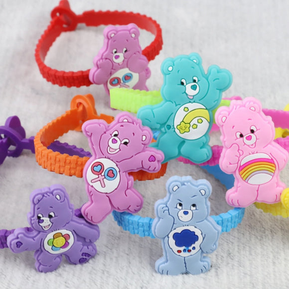7pcs/set Hot sale Lovely care Bears theme bangle bracelet party favors for kids birthday wristband Decoration Supplies