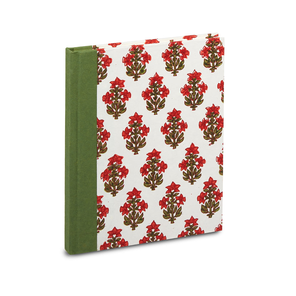 hand-blocked lined notebook (red)