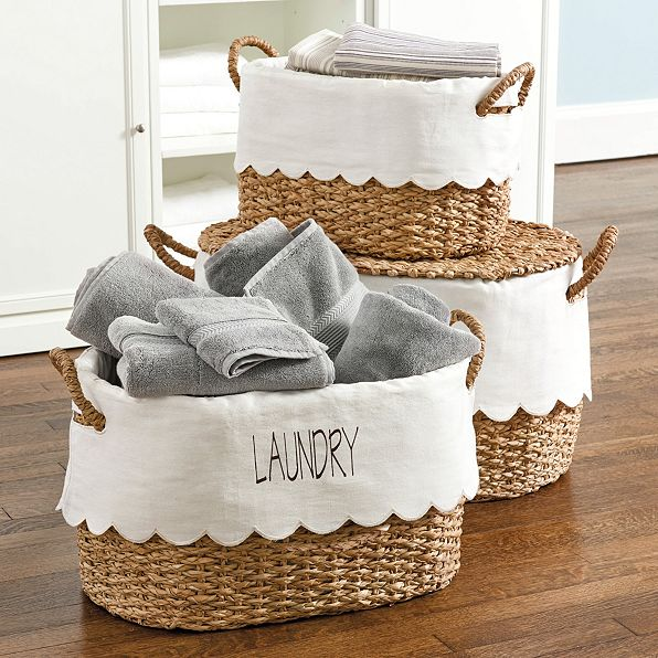 nesting baskets with scalloped liner (set of 3)
