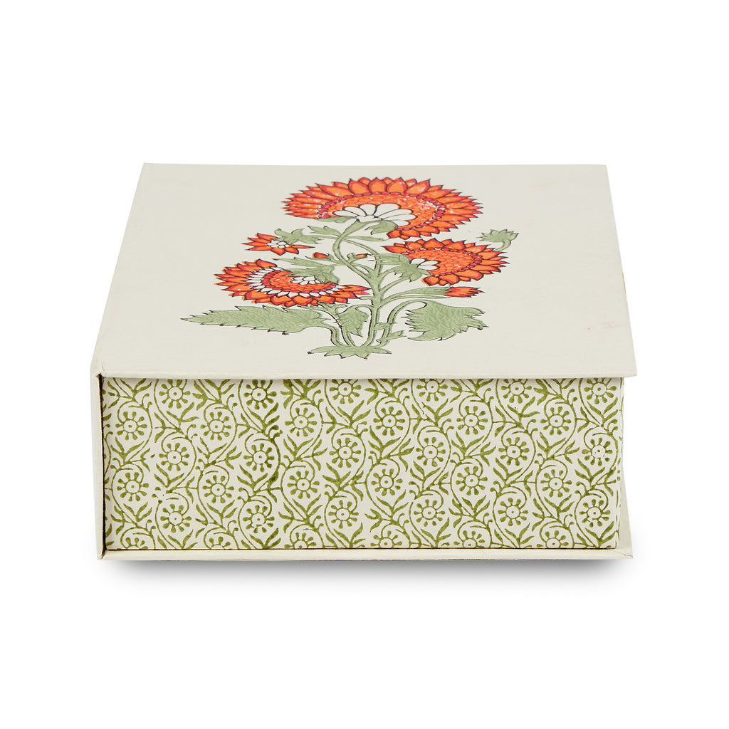 hand-blocked paper box (chrysanthemum, large)