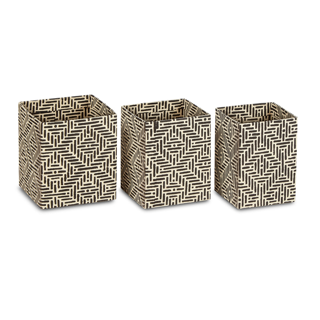 hand-blocked pencil cups - deco (set of 3)