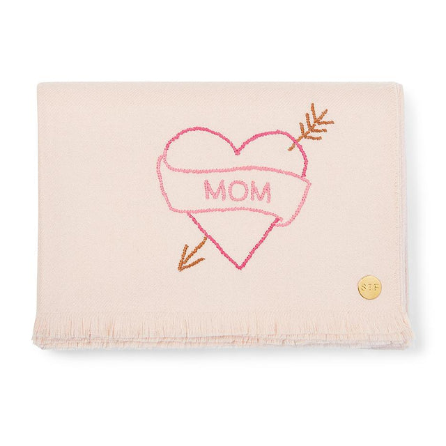 """Mom"" Tattoo Embroidered Baby Alpaca Throw - Blanket"